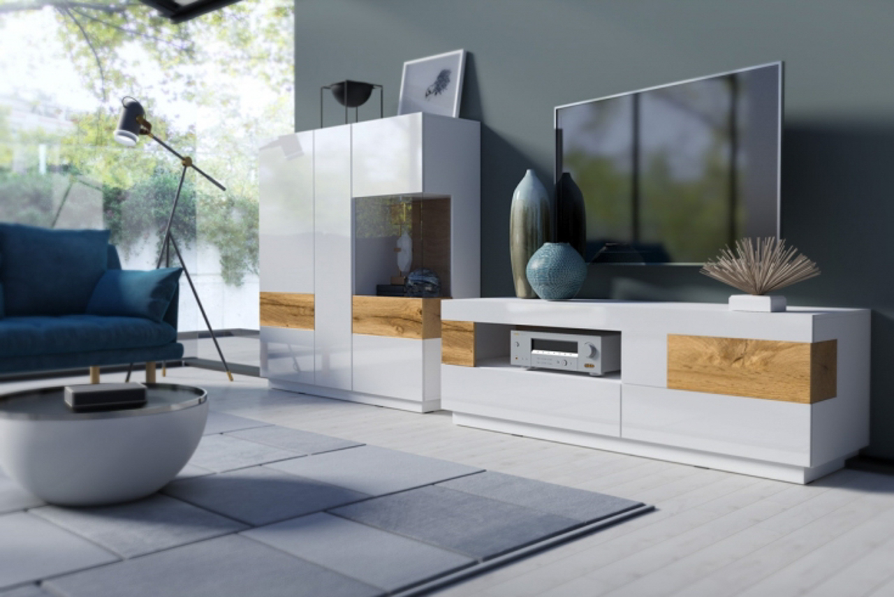 MALYS-GROUP Systémový nábytek SILKE 1 Bílý / Bílý lesk - Wotan