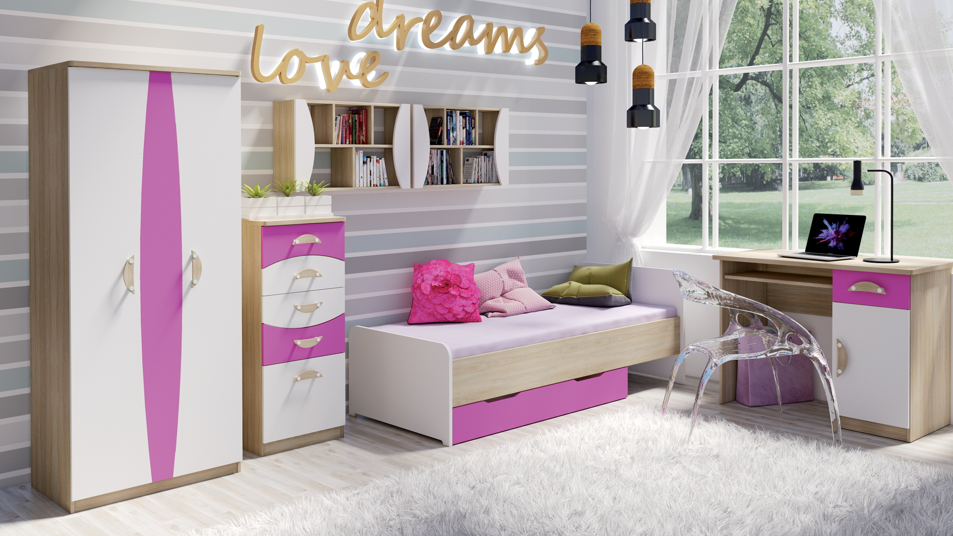 MALYS-GROUP Stylový nábytek do dětského pokoje TENUS II Sestava 7