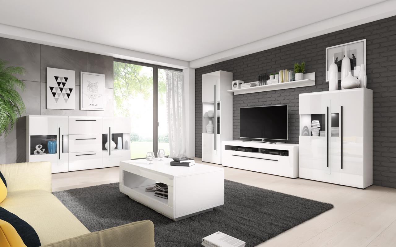 MALYS-GROUP Systémový nábytek TULSA 1 Bílý laminát / Bílý lesk
